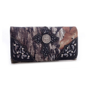 Mossy Oak Studded Cross Embroidered Faux Leather Wallet