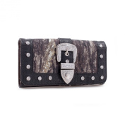 Mossy Oak Camouflage Wallet With Rhinestone Buckle & Floral Trim