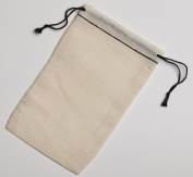 7.6cm x 13cm Black Hem and Black Double Drawstring Cotton Muslin Bags 50 Count Pack