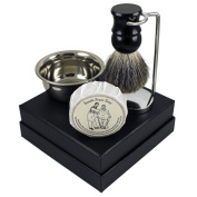 "Classic ""Smooth Shave"" Shaving Gift Set with Chrome Stand, Stainless Shave Bowl & Badger Hair Brush"