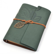 Cosmos® Classic String PU Leather Dark Green Loose-leaf Blank Notebook Diary Travel Journal Note Book