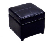 Baxton Studio Full Leather Square Storage Ottoman, Black