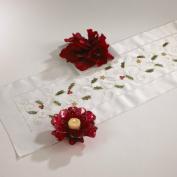 Embroidered Holly Design Table Runner, 36cm x 180cm Rectangular