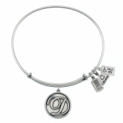 Wind and Fire Love Letter 'D' Silver Finish Charm Bangle