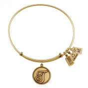 Wind and Fire Love Letter 'T' Gold Finish Charm Bangle