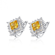 Sterling Silver Simulated Diamond Square Citrine Earrings