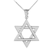 925 Sterling Silver Polished Judaica Charm Jewish Star of David Pendant Necklace