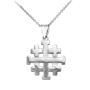 Matte Finish 925 Sterling Silver Crusaders Jerusalem Cross Pendant Necklace
