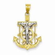 14k Gold Two Tone Mariners Cross Crucifix Pendant Charm