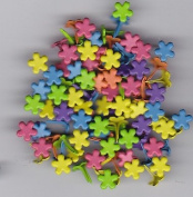 Mini Bright Coloured Flower Brads - 100ct