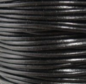 "#02 Black Round Leather Cord 4mm (5/32"") x 5 m"