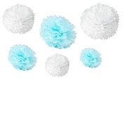 Generic Set of 12pcs Mixed 3 Sizes White Powder Blue Tissue Paper Pom Poms Flower Wedding Party Baby Girl Room Nursery Decoration
