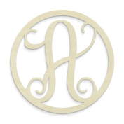 UNFINISHEDWOODCO Single Letter Circle Monogram-A, 48cm , Unfinished