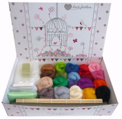 Heidifeathers Premium Boxed Wet Felting Kit - 20 Merino Colours
