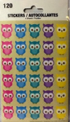 Owl Stickers ~ 4 Sheets ~ 5 Colours of Adorable Owls ~ 120 Stickers ~ Hoot & Howl