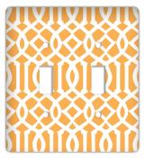Trellis Trendy Printed Double Switchplate Cover, Orange