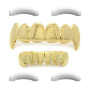 Gold Tone Hip Hop Teeth Top Fangs & Bottom Grillz Set with 4 Xtra Silicones