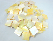 """20 Pieces Sea Yellow Abalone Shell 1.5cm(0.59"""") Square. One Side Polished. For Mosaic Art Tiles, Musical Instrument Inlay."""