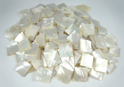 """20 Pieces Sea White Mother of Pearl MOP Shell 1.5cm(0.59"""") Square. One Side Polished. For Mosaic Art Tiles, Musical Instrument Inlay."""