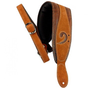 LM Products 7.6cm Leather Bass Clef Padded Guitar Strap Brown