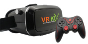 VRKIX Virtual Reality Glasses 3D VR Goggles Comfortable Fit Headwear for 360 degree Viewing Using Your Smartphone with Universal Controller Android Compatible Bluetooth Gamepad
