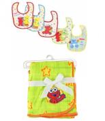 Sesame Beginning Baby Elmo Fleece Blanket & Bibs Gift Set