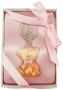 Firefly Imports Baby Shower Party Favour Polyresin Baby Teddy Bear Key Chain, Light Pink