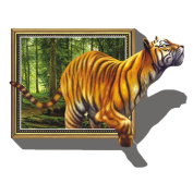 Giant 3D Tiger Jumping Out of Jungle Peel & Stick Wall Decals