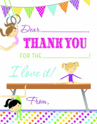 Olympic Gymnastics Girl Kids Fill-in Birthday Thank You Cards
