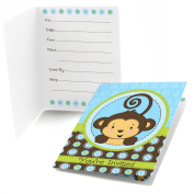 Monkey Boy - Fill In Party Invitations - Set of 24