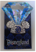 Disneyland 60th Anniversary Diamond Celebration Jewelled Mickey Ears Hat Trading Pin