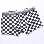Men's Checker Print Cotton Trunk