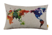 LINKWELL 50cm x 30cm Modern Fashion Watercolour World Map Colourful Burlap Pillow Cases Cushion Covers