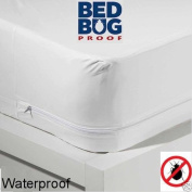 Queen Size Zippered Mattress Cover Vinyl Keeps Out Bed Bugs & Dust Mites Water Resistant Protector 25cm Wide 200cm X 150cm