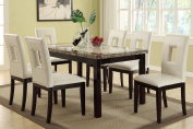 Poundex F2094 & F1052 Faux Marble Top W/ White Leatherette Chairs Dining Set