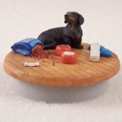 "Black Dachshund Candle Topper Tiny One ""A Day at Home"""