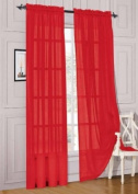 MONAGIFTS 2 PANELS RED Sheer Voile Window Panel curtains 150cm WIDTH X 210cm LENGTH EACH PANEL