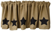 Black Star Burlap Window Curtain Valance Natural Tan Weave Country Primitive Home Décor