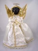 Black Labrador Retriever Angel Christmas Tree Topper