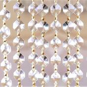 Gold Clear Crystal Garland, Octagon Cut Crystal Chain, 14mm