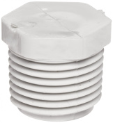 Spears 450 Series PVC Pipe Fitting, Plug, Schedule 40, 5.1cm NPT Male