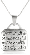 """Sterling Silver """"Grandmother A Wonderful Mother with Lots of Practise"""" Square Pendant Necklace, 46cm"""