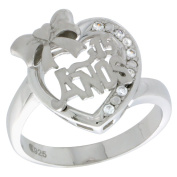 Sterling Silver Quinceanera 15 Anos Ribbon Heart Ring CZ stones Rhodium Finished, 1.6cm wide, sizes 5 - 8
