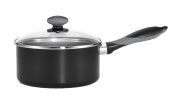 Mirro A79723 Get-A-Grip Aluminium Nonstick Sauce Pan with Glass Lid Cover Cookware, 1.9l, Black