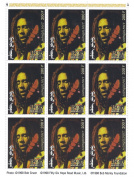 Bob Marley commemorative stamp sheet for collectors containing 9 stamps - Mongolia / MNH / 1998