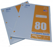 Graph Filler Paper 5x5 Ruled 2 Pack of 80 Sheets Each