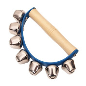 Homgaty Baby Wooden Handle Handbell Tambourine 7 Jingle Bell Rattles Education Toy Musical Instrument