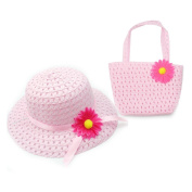 TechSmile® New Lovely Design Charm Princess Straw Baby Girl Sun Hat Summer Flower Cap and Handbag