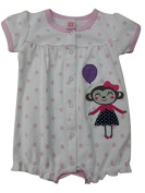 Baby Girls White With Pink Polka Dots Romper Short Sleeved Playsuit