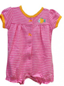 Baby Girl Cotton Romper Playsuit With Pink Stripes and Cute Fish Design